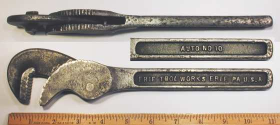 [Erie Tool Works No. 10 Automatic Pipe Wrench]